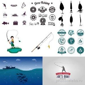 Рыболовные предметы и значки в векторе